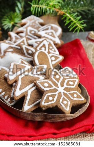 Christmas cookies on wooden tray. Selective focus