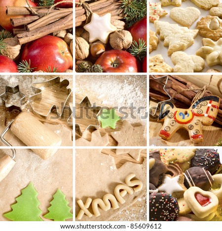 Christmas cookies, spices and baking utensils - stock photo