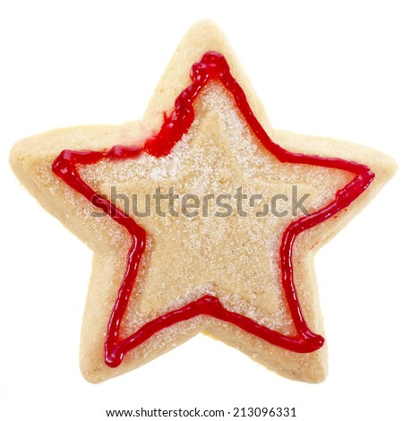 christmas cookies star surface top view close up macro shot isolated on a white background - stock photo