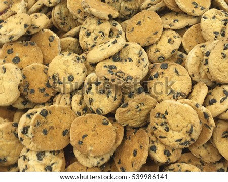 Christmas cookies with chocolate. chocolate chip cookie. Cookies background.