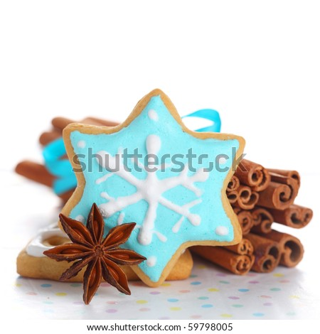 Christmas cookies with cinnamon and anise on white isolated background - stock photo