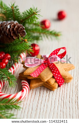 Christmas cookies with festive decoration - stock photo
