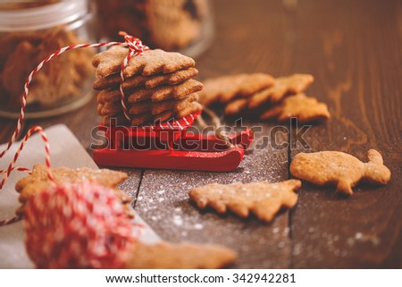 Christmas cookies with hot cocoa. festive decoration