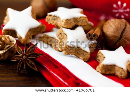 Christmas cookies with nuts and spices - stock photo