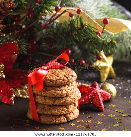 Christmas cookies with red ribbon and decorations