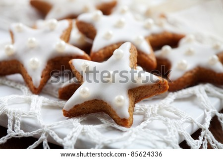 Christmas cookies with white icing, selective focus - stock photo