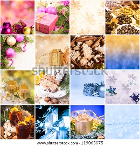 Christmas cooking and decor - collage from sixteen photos - stock photo
