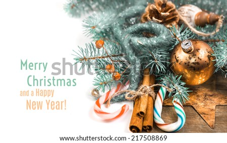 Christmas corner  composition with candy canes and replaceble text - stock photo
