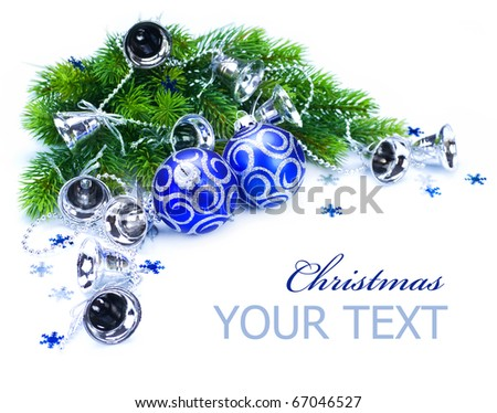 Christmas Corner design over white - stock photo