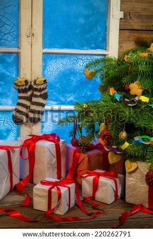 Christmas cottage full of gifts