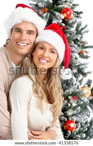 Christmas couple - stock photo