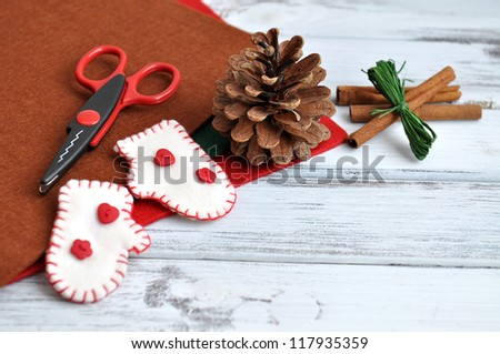 Christmas craft supplies and ornaments