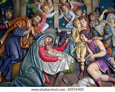 Christmas Crib carved in the Wood, from Italy - stock photo