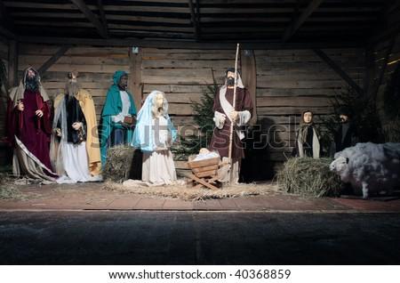 Christmas crib in central Poland. - stock photo