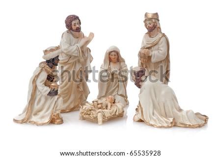 Christmas Crib isolated on white background. - stock photo