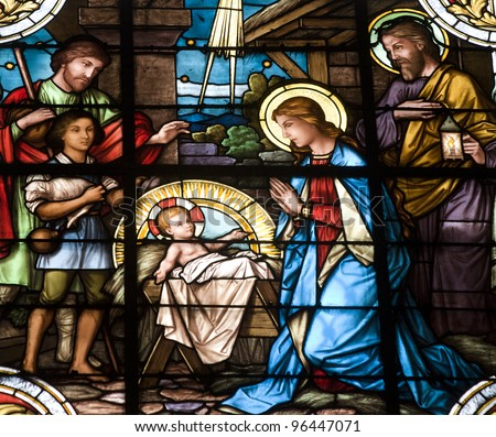 Christmas crib - windowpane from Banska Stiavnica - st. Katharine church - stock photo