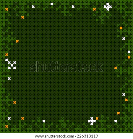christmas cross-stitch frame with pine branches and snow flakes - stock photo