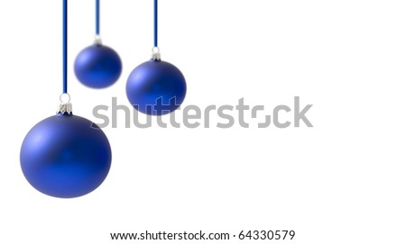 Christmas crystal balls hanging on ribbons, over a white background