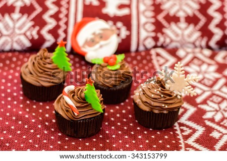 Christmas cupcake for the new year - stock photo