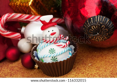 Christmas cupcake snowman - stock photo