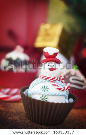 Christmas cupcakes with Christmas decoration - stock photo