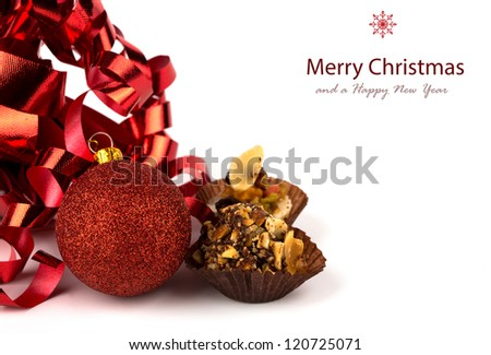 Christmas cupcakes with christmas decoration isolated on white background - stock photo