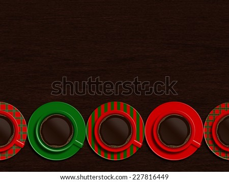 christmas cups of coffee lying on wooden table with place for text - stock photo