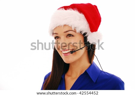 Christmas customer service worker smiling during phone conversation on white background - stock photo