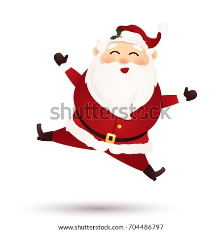christmas cute santa claus feeling excited isolated on white background santa clause jumping waving - White Santa Claus