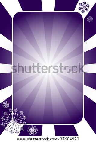 Christmas dark blue  frame with radiate rays - stock photo