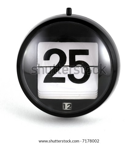 Christmas Day Calendar - a flip date showing the day! - stock photo