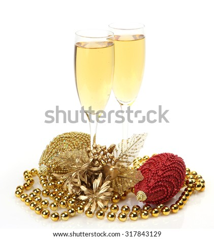 Christmas Decor and champagne - stock photo