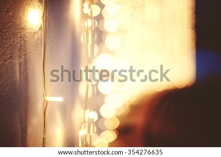 Christmas decor in night city. vintage picture - stock photo