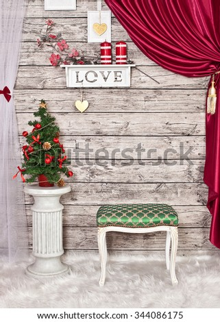 Christmas decor in the house - stock photo
