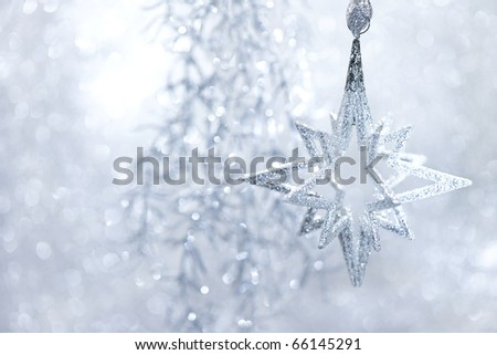 Christmas Decor silver bright. abstract background. christmas card concept - stock photo