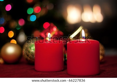 Christmas decor with candles and ornaments