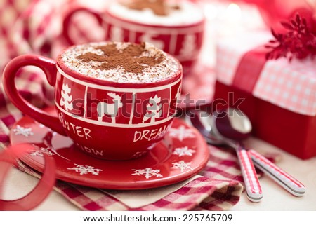 Christmas decorated cups with hot chocolate for holidays. - stock photo