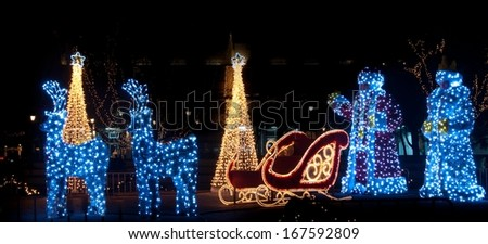 Christmas decorated front yard - stock photo