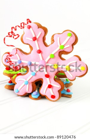 Christmas decorated gingerbread sugar cookies. - stock photo