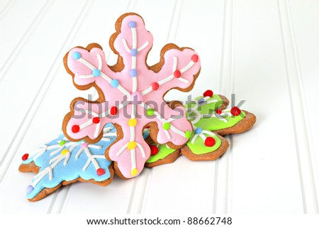Christmas decorated gingerbread sugar cookies. Also available in vertical. - stock photo