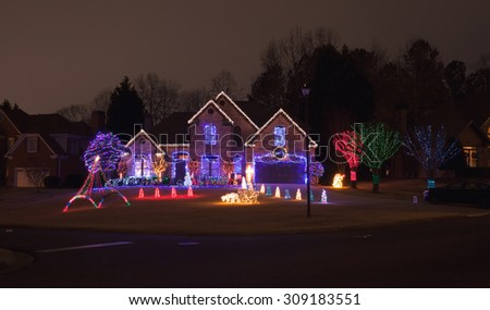 Christmas decorated house - stock photo