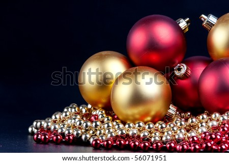 Christmas decorated on a black background