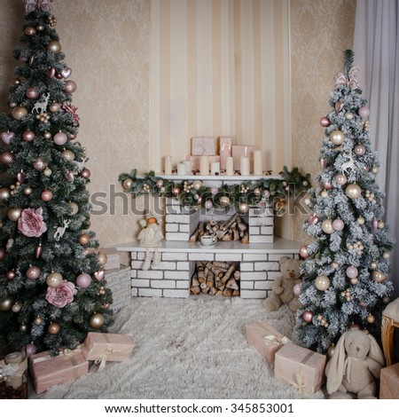 christmas decorated room  - stock photo