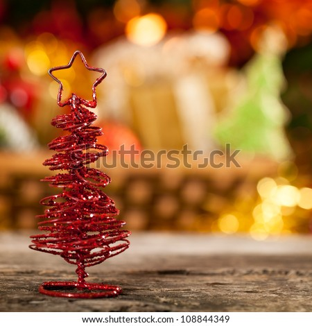Christmas decoration against lights blurred background - stock photo