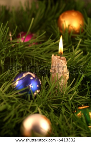 Christmas decoration and candle light - stock photo