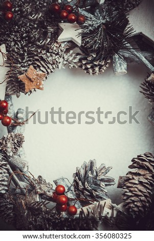 Christmas Decoration and Composition Top view. Fir tree, Pine cones, and Spruce