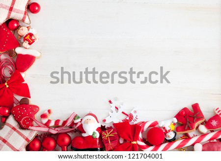 Christmas decoration and cookies border - stock photo