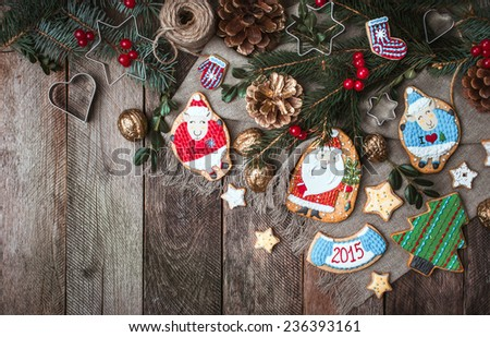 Christmas decoration and cookies in rustic style. Free space for text. New Year 2015 - stock photo