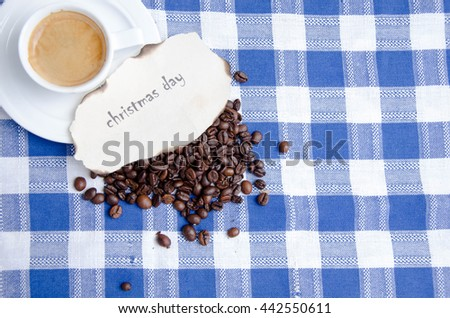 Christmas decoration  and cup of coffee on wooden background  - stock photo