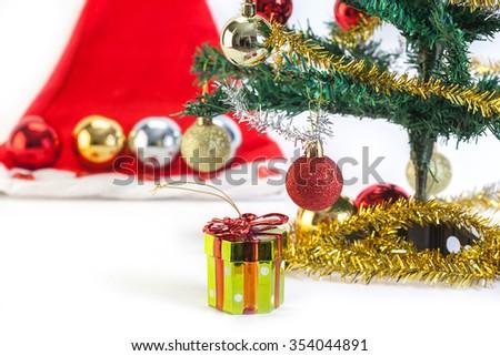 Christmas decoration and gift box isolate on white background - stock photo